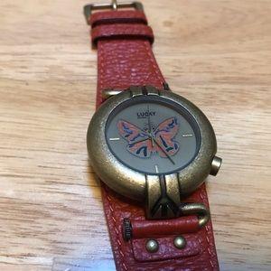 Lucky Brand Burnt Orange Leather Watch